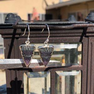 Jewelry - Fluorite Carved Sterling Silver Earrings
